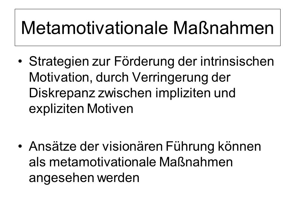 Metamotivationale Maßnahmen