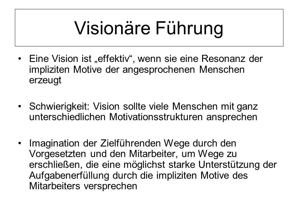 """Visionäre Führung Eine Vision ist """"effektiv , wenn sie eine Resonanz der impliziten Motive der angesprochenen Menschen erzeugt."""