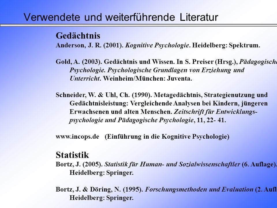 Verwendete und weiterführende Literatur