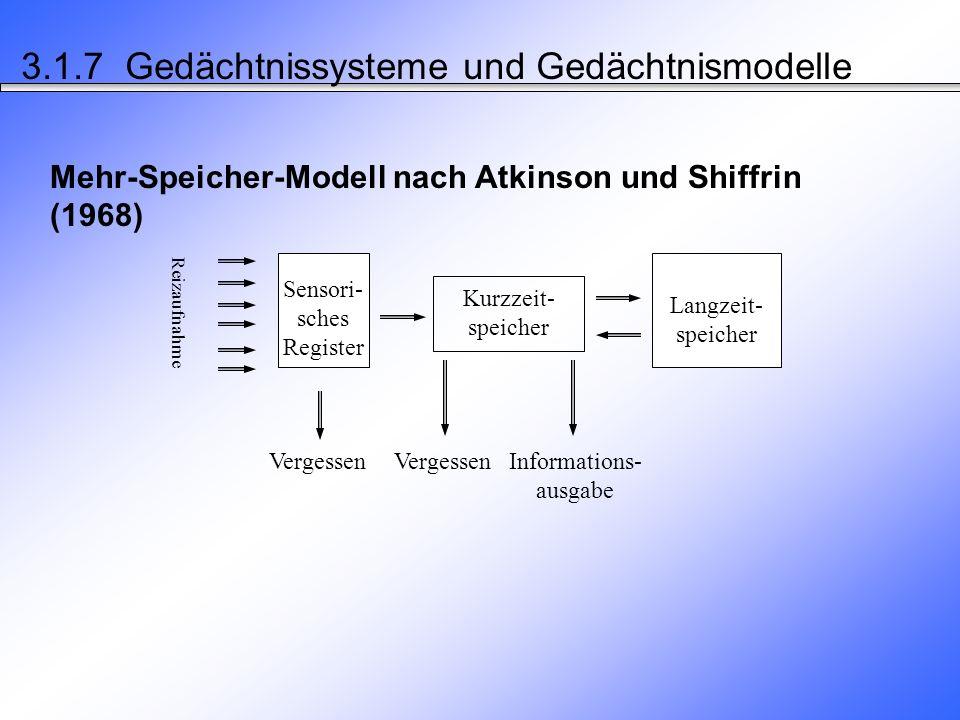 3.1.7 Gedächtnissysteme und Gedächtnismodelle