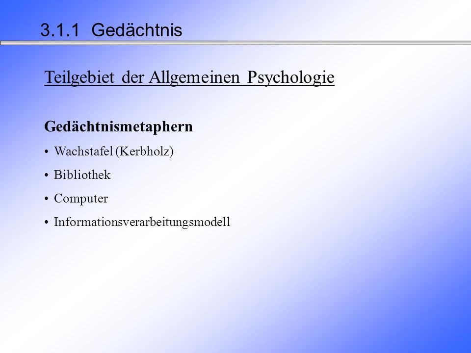 Teilgebiet der Allgemeinen Psychologie