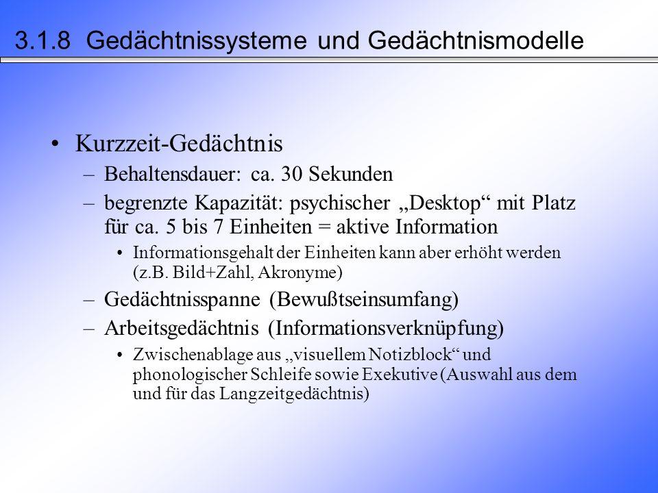 3.1.8 Gedächtnissysteme und Gedächtnismodelle