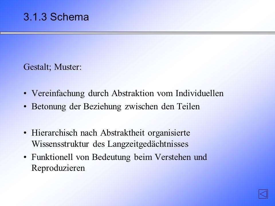 3.1.3 Schema Gestalt; Muster: