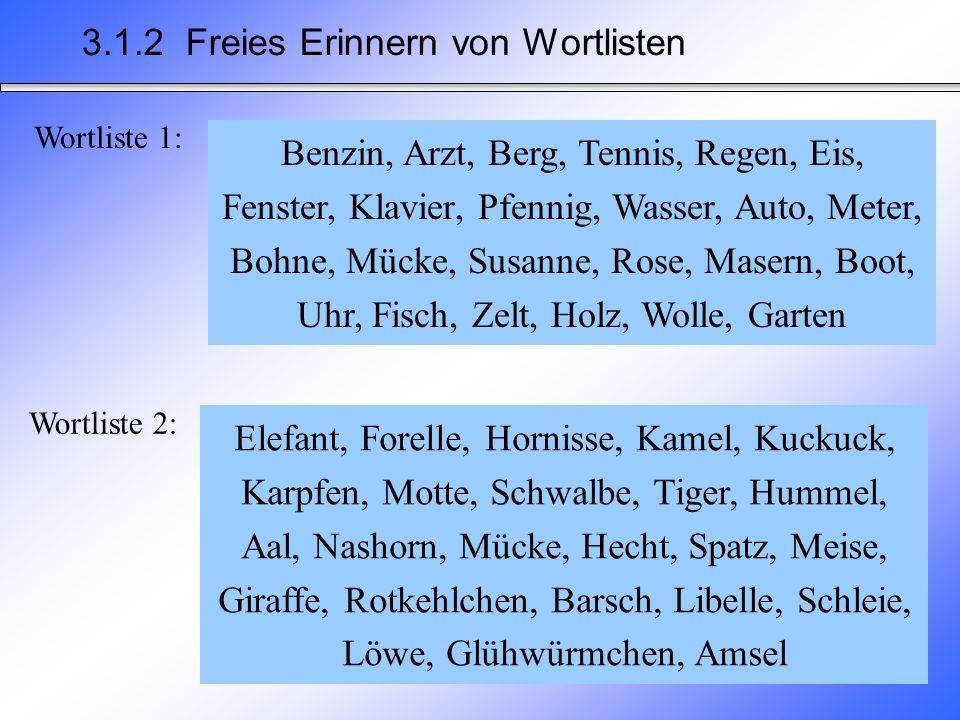 3.1.2 Freies Erinnern von Wortlisten