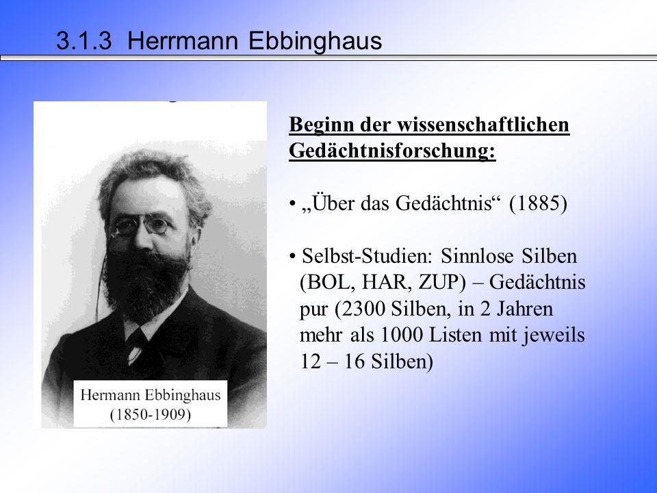 """3.1.3 Herrmann Ebbinghaus Beginn der wissenschaftlichen Gedächtnisforschung: """"Über das Gedächtnis (1885)"""