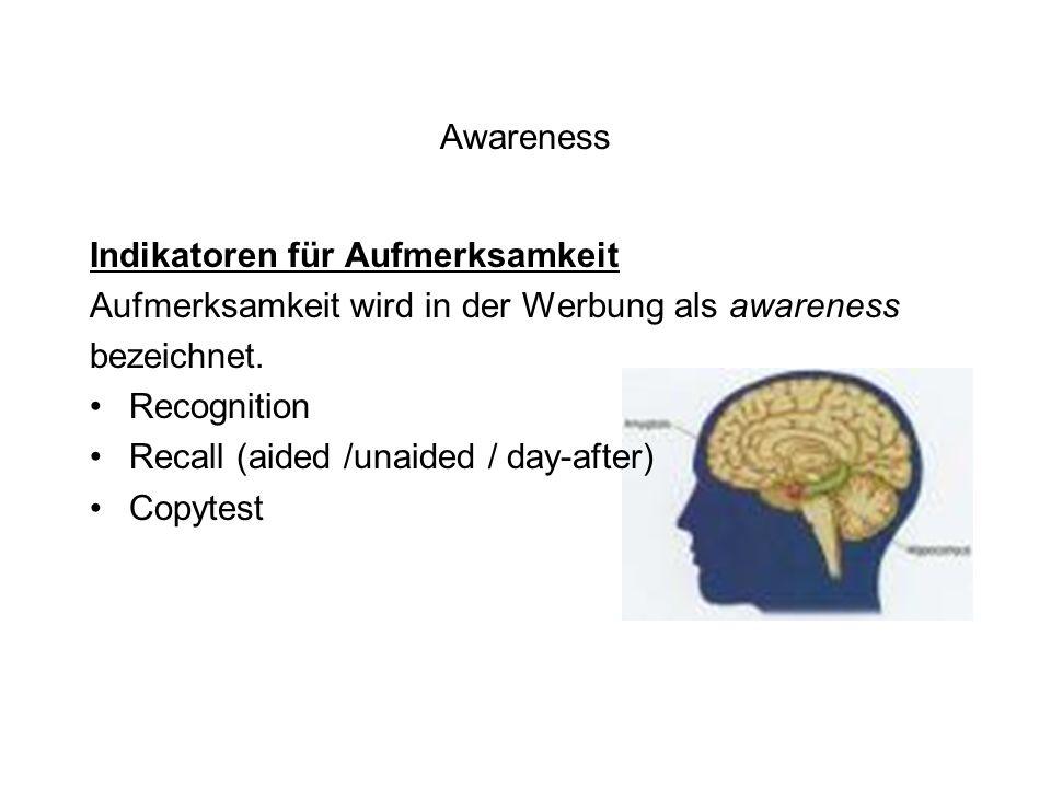 Awareness Indikatoren für Aufmerksamkeit. Aufmerksamkeit wird in der Werbung als awareness. bezeichnet.