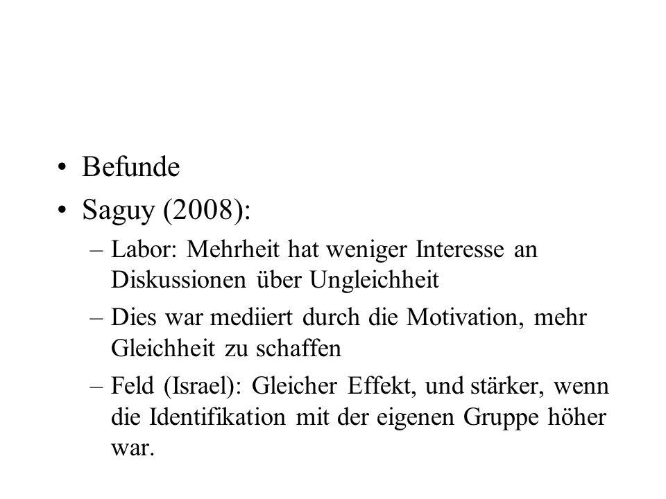 Befunde Saguy (2008): Labor: Mehrheit hat weniger Interesse an Diskussionen über Ungleichheit.