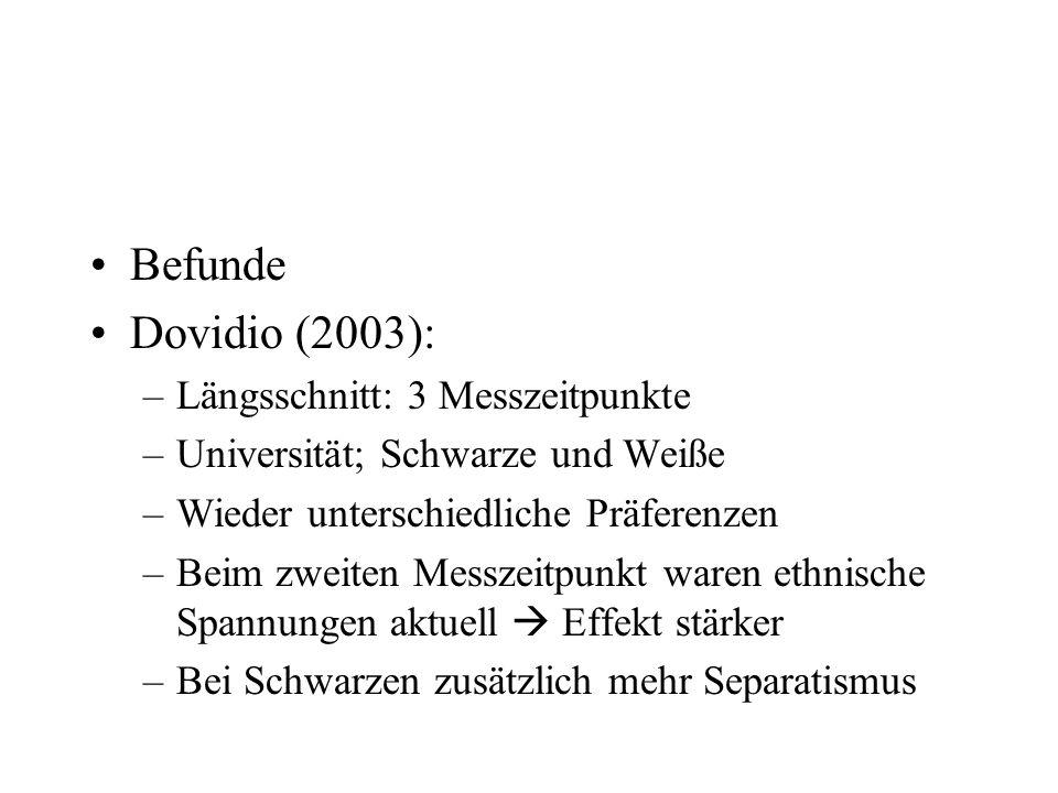 Befunde Dovidio (2003): Längsschnitt: 3 Messzeitpunkte