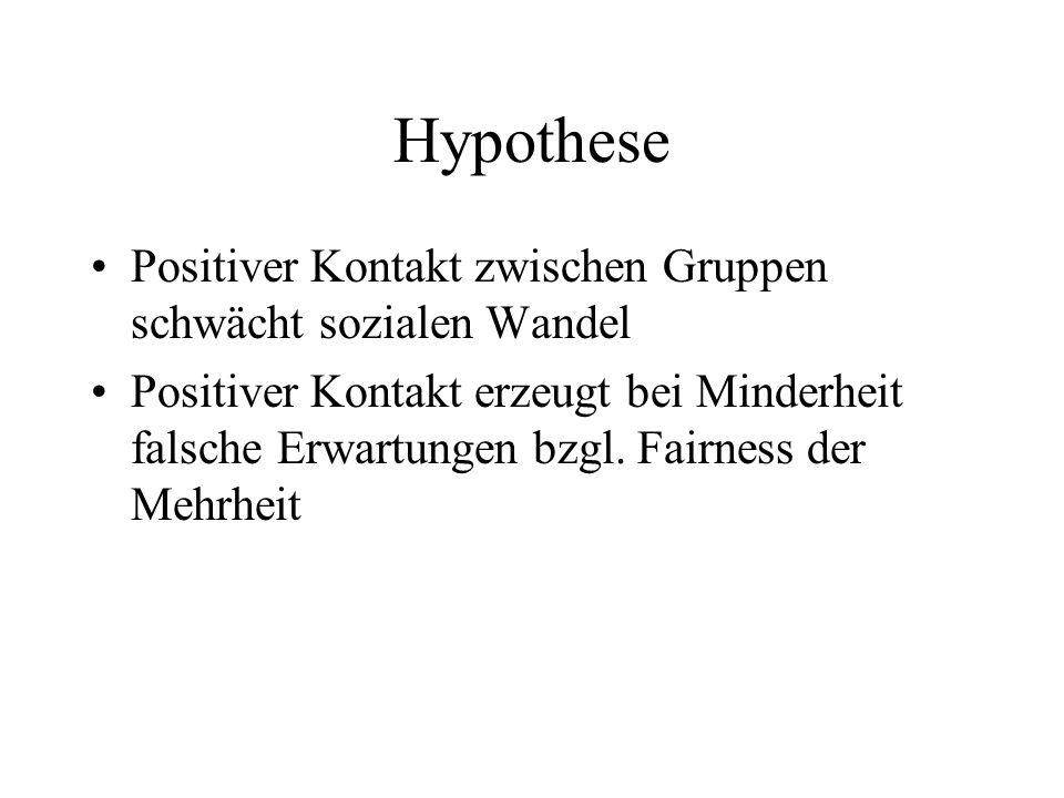 Hypothese Positiver Kontakt zwischen Gruppen schwächt sozialen Wandel