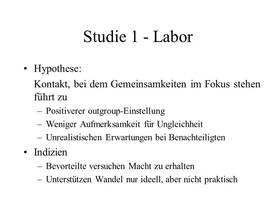 Studie 1 - Labor Hypothese: