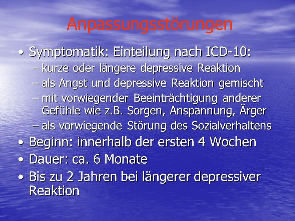 Anpassungsstörungen Symptomatik: Einteilung nach ICD-10: