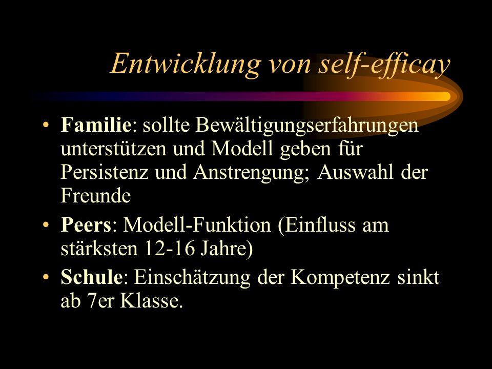 Entwicklung von self-efficay