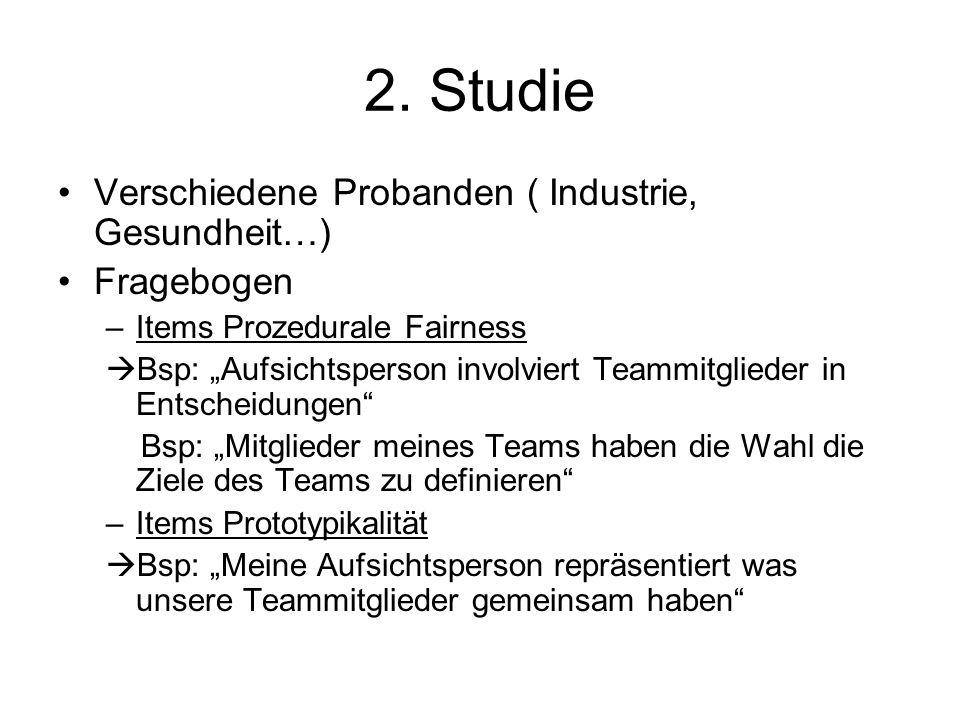 2. Studie Verschiedene Probanden ( Industrie, Gesundheit…) Fragebogen