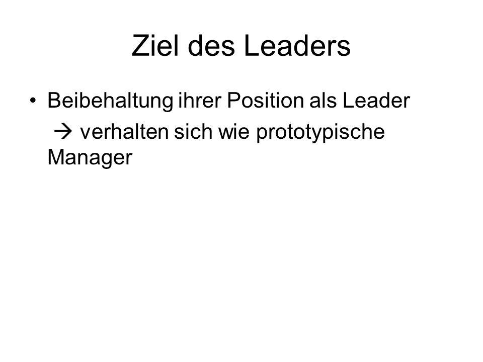 Ziel des Leaders Beibehaltung ihrer Position als Leader
