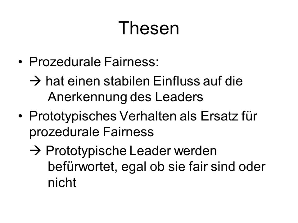 Thesen Prozedurale Fairness: