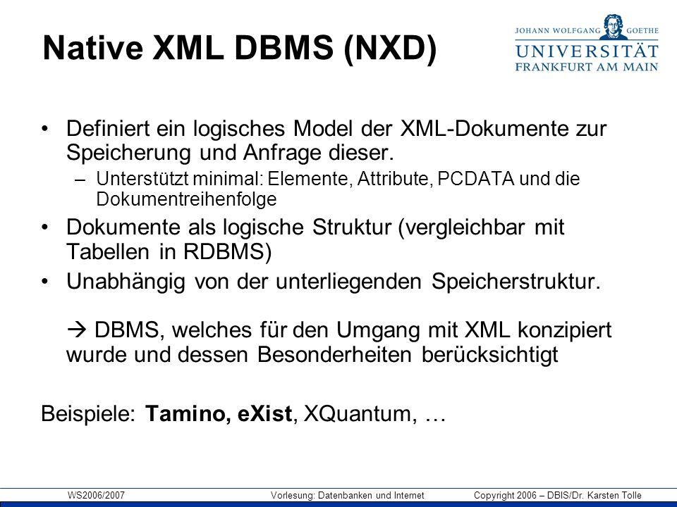 Native XML DBMS (NXD) Definiert ein logisches Model der XML-Dokumente zur Speicherung und Anfrage dieser.