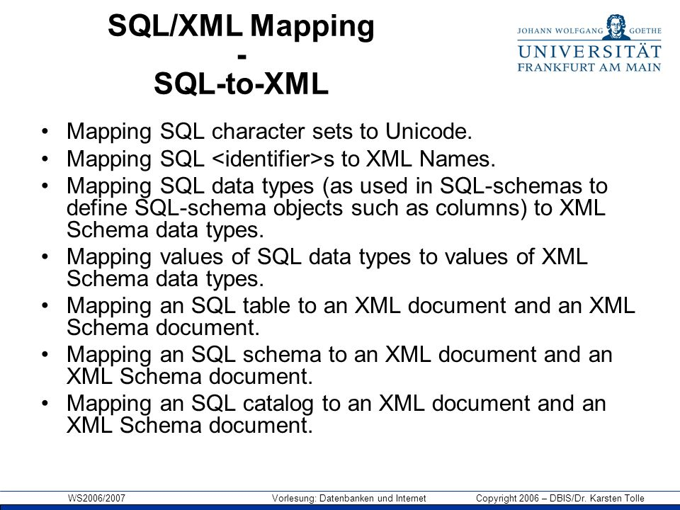 SQL/XML Mapping - SQL-to-XML