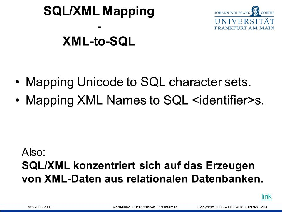 SQL/XML Mapping - XML-to-SQL