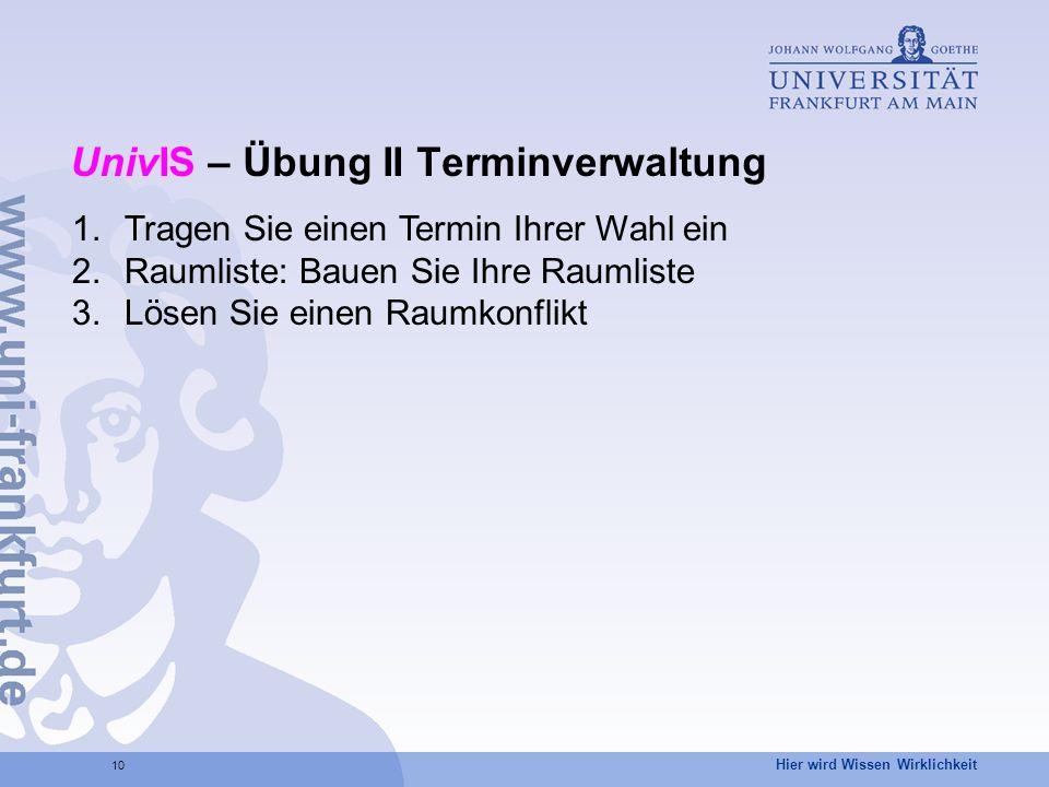 UnivIS – Übung II Terminverwaltung