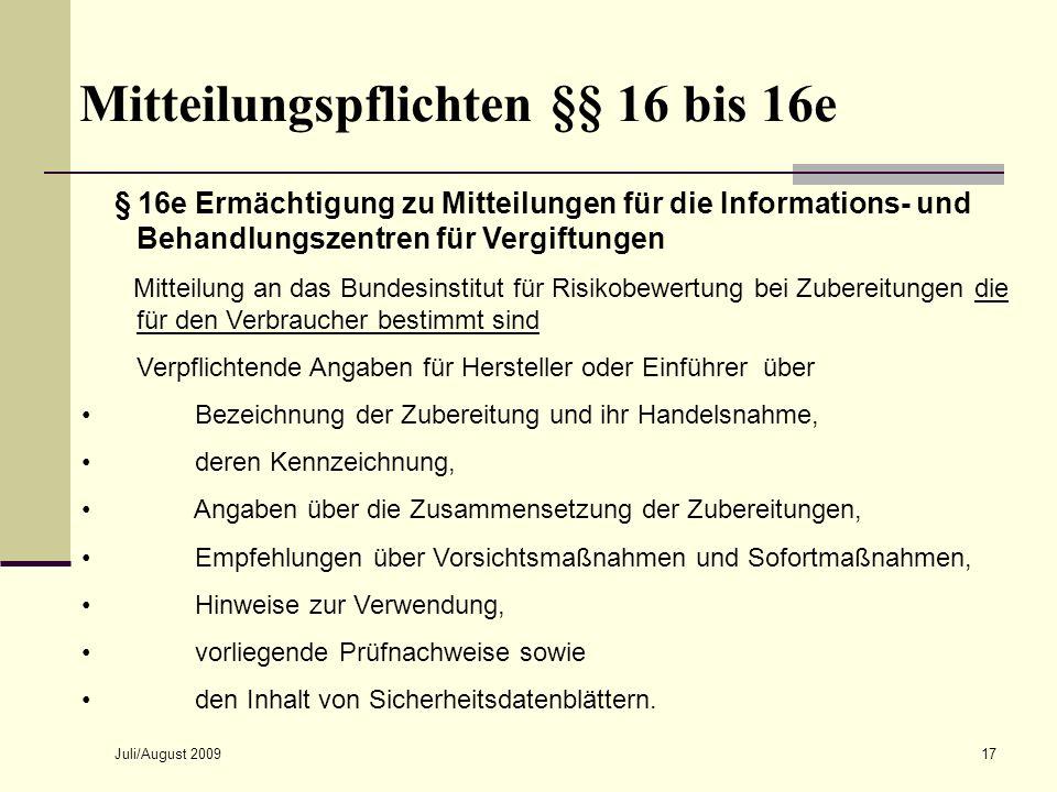 Mitteilungspflichten §§ 16 bis 16e