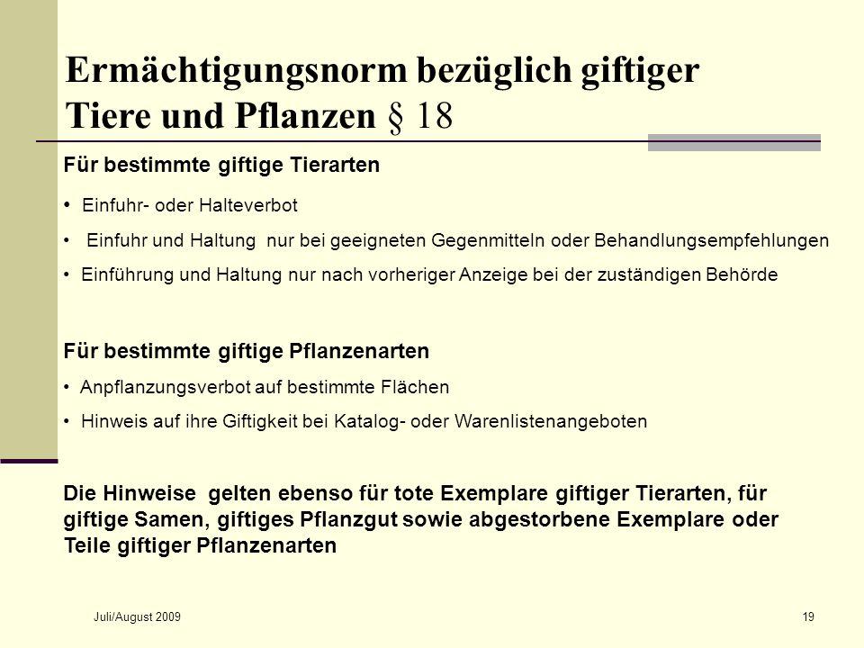Ermächtigungsnorm bezüglich giftiger Tiere und Pflanzen § 18