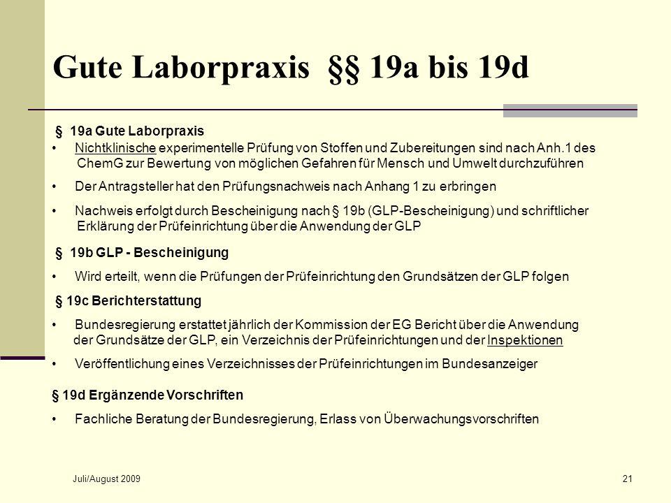 Gute Laborpraxis §§ 19a bis 19d