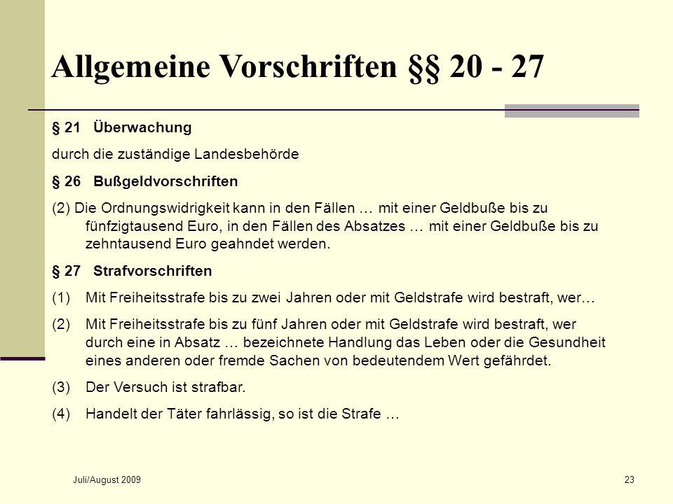 Allgemeine Vorschriften §§ 20 - 27