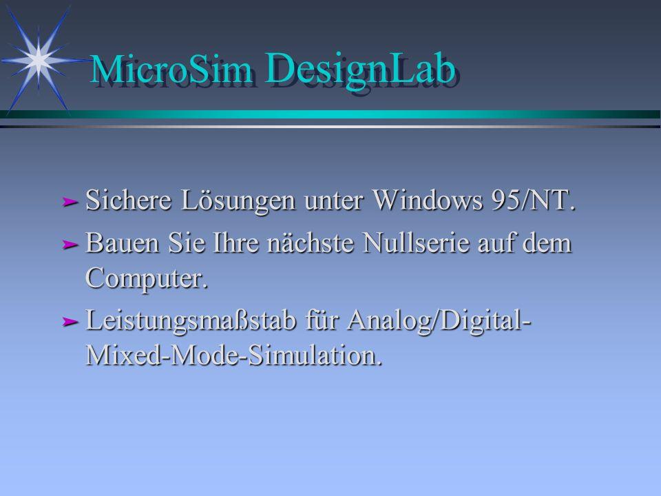 MicroSim DesignLab Sichere Lösungen unter Windows 95/NT.