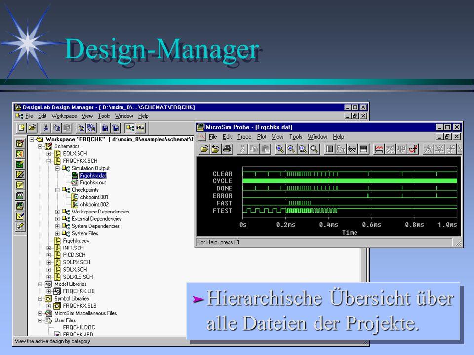 Design-Manager Hierarchische Übersicht über alle Dateien der Projekte.