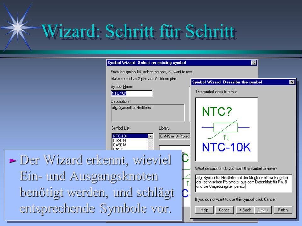 Wizard: Schritt für Schritt