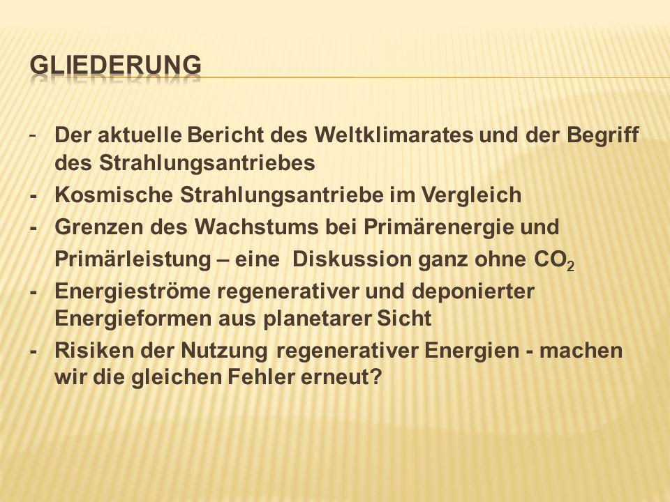 Gliederung - Der aktuelle Bericht des Weltklimarates und der Begriff des Strahlungsantriebes. - Kosmische Strahlungsantriebe im Vergleich.