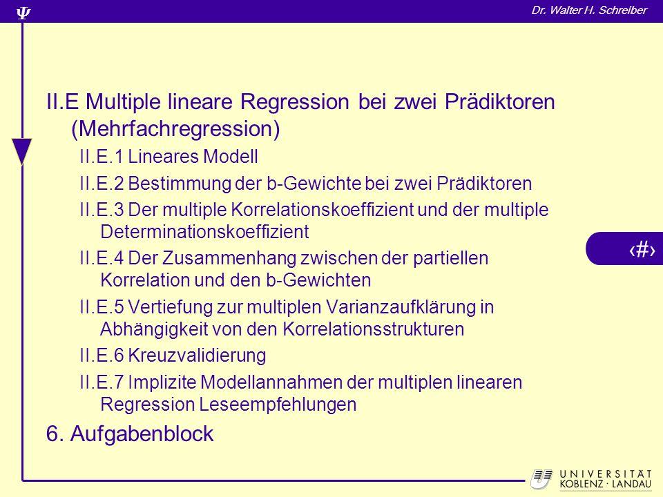 II.E Multiple lineare Regression bei zwei Prädiktoren (Mehrfachregression)
