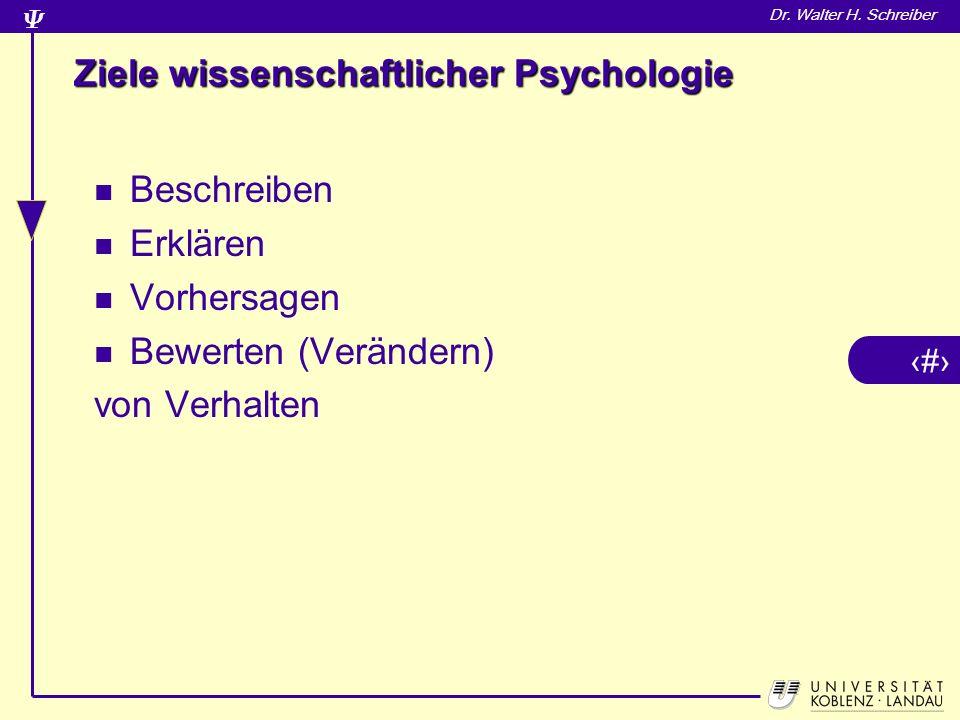 Ziele wissenschaftlicher Psychologie