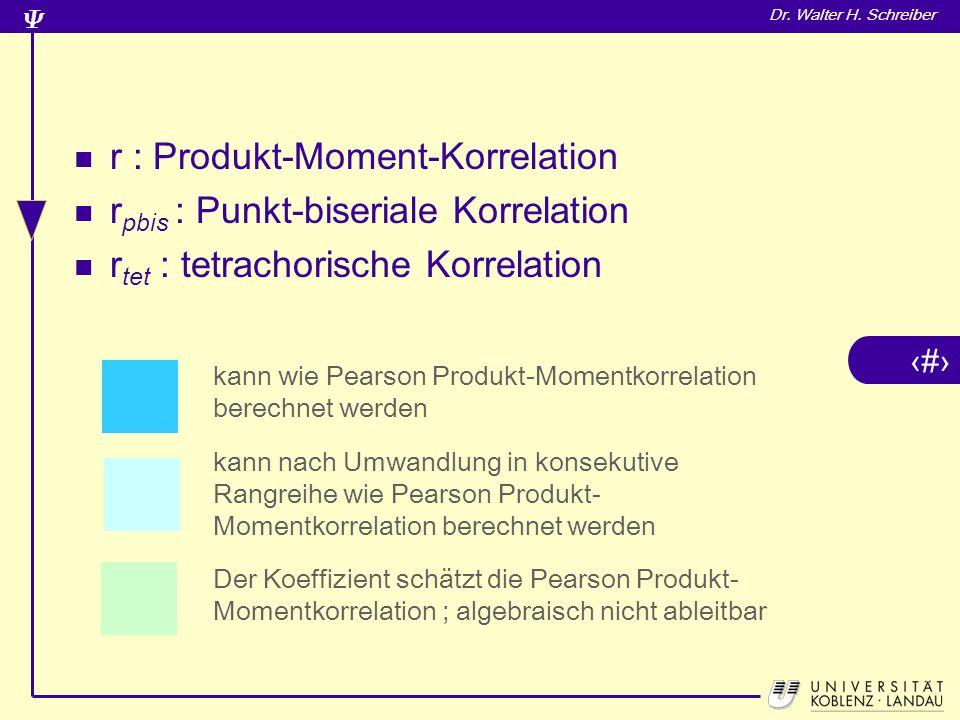 r : Produkt-Moment-Korrelation rpbis : Punkt-biseriale Korrelation