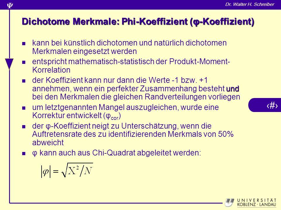 Dichotome Merkmale: Phi-Koeffizient (φ-Koeffizient)