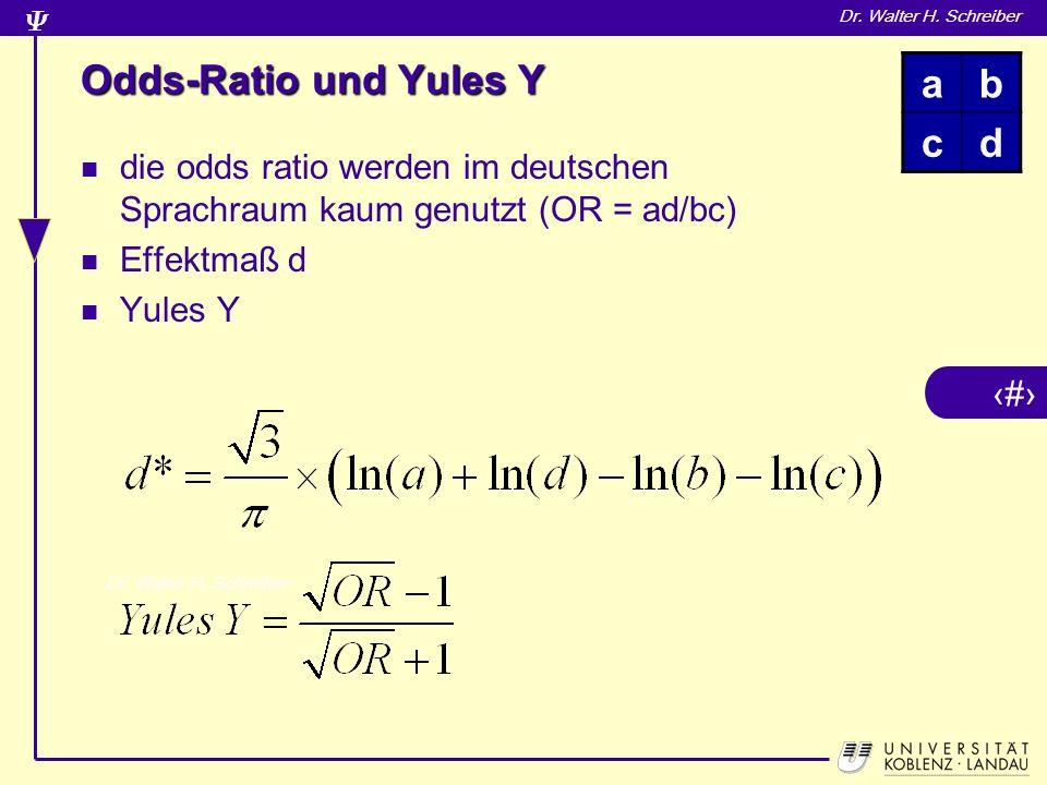 Odds-Ratio und Yules Y a b c d