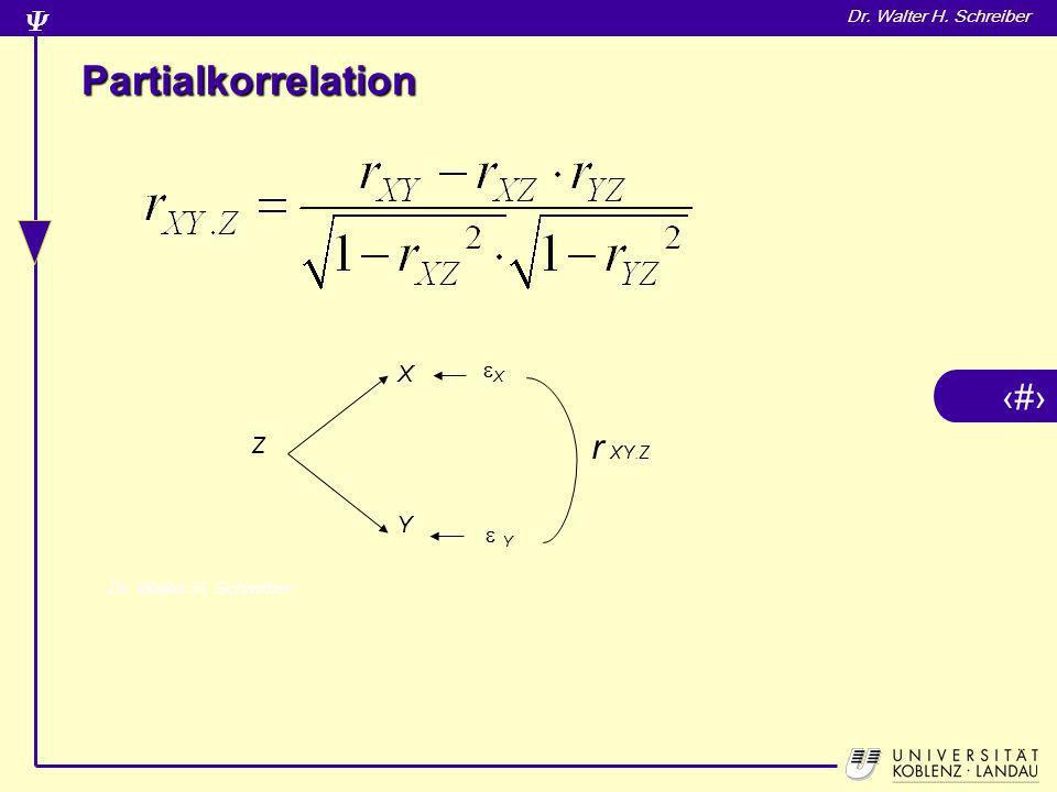 Partialkorrelation X  Y X Y Z r XY.Z