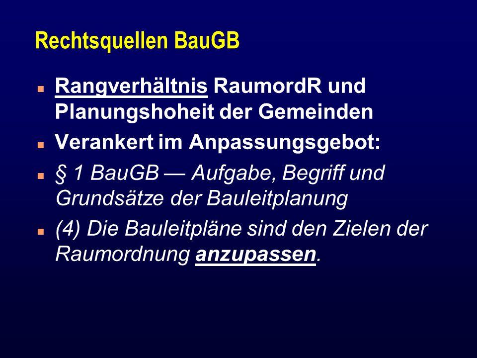 Rechtsquellen BauGB Rangverhältnis RaumordR und Planungshoheit der Gemeinden. Verankert im Anpassungsgebot: