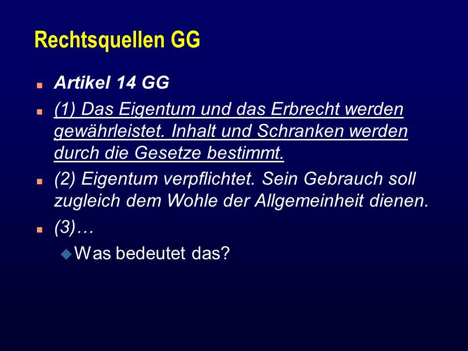 Rechtsquellen GG Artikel 14 GG