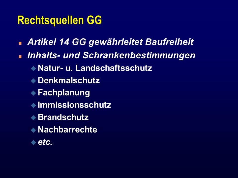 Rechtsquellen GG Artikel 14 GG gewährleitet Baufreiheit