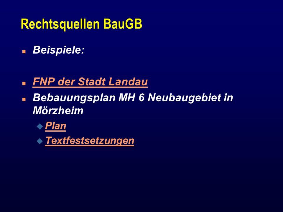 Rechtsquellen BauGB Beispiele: FNP der Stadt Landau