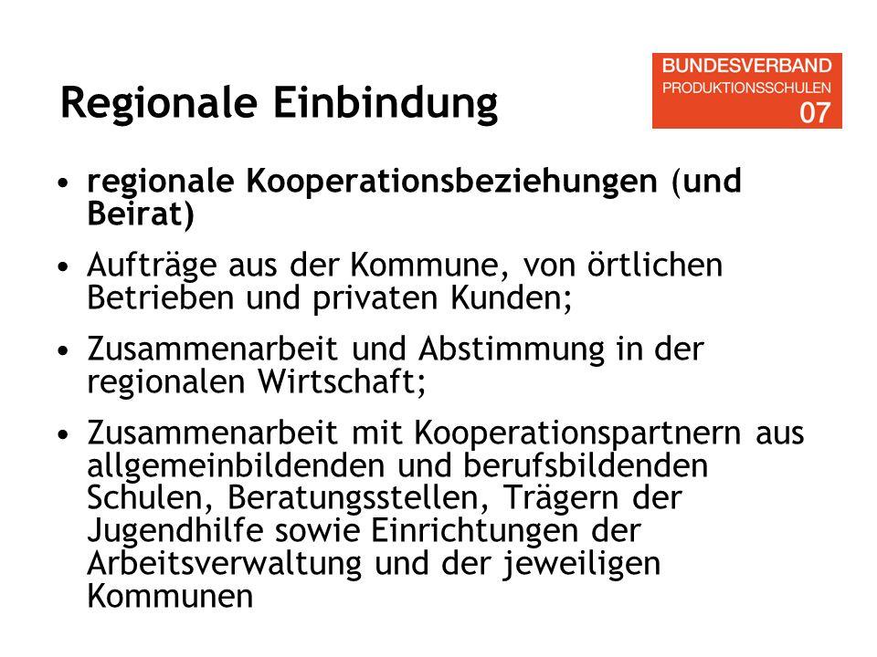 Regionale Einbindung regionale Kooperationsbeziehungen (und Beirat)