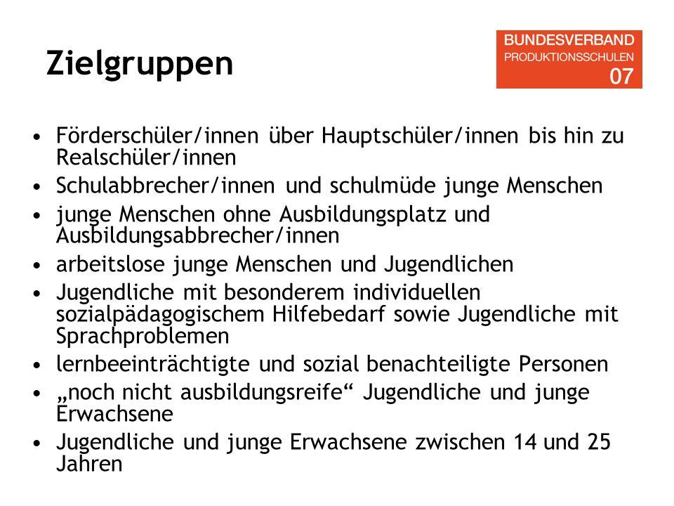 Zielgruppen Förderschüler/innen über Hauptschüler/innen bis hin zu Realschüler/innen. Schulabbrecher/innen und schulmüde junge Menschen.