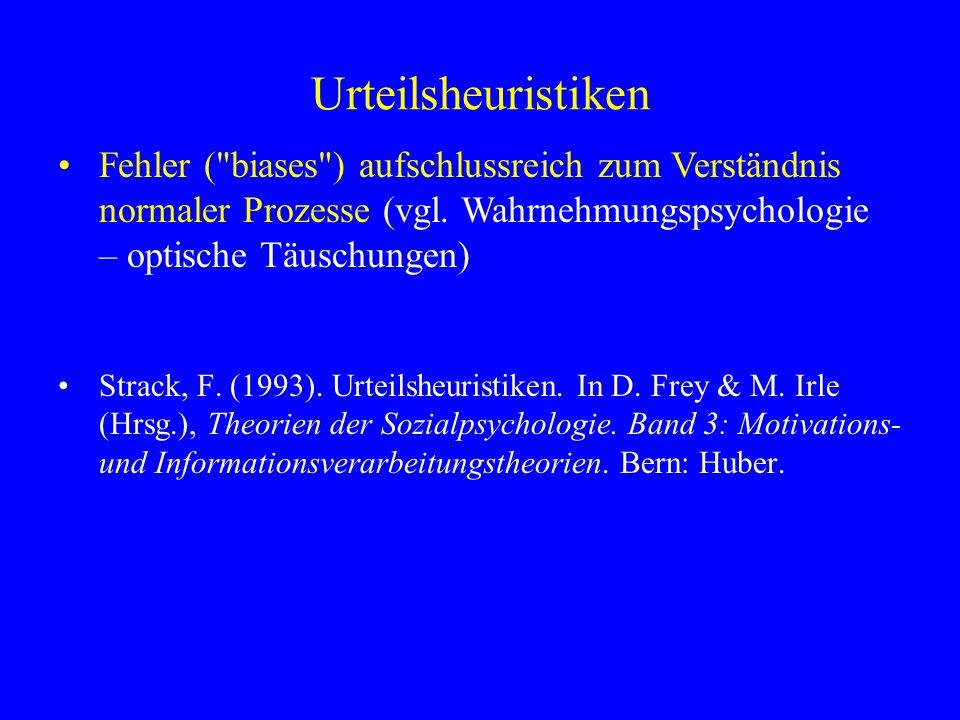 Urteilsheuristiken Fehler ( biases ) aufschlussreich zum Verständnis normaler Prozesse (vgl. Wahrnehmungspsychologie – optische Täuschungen)