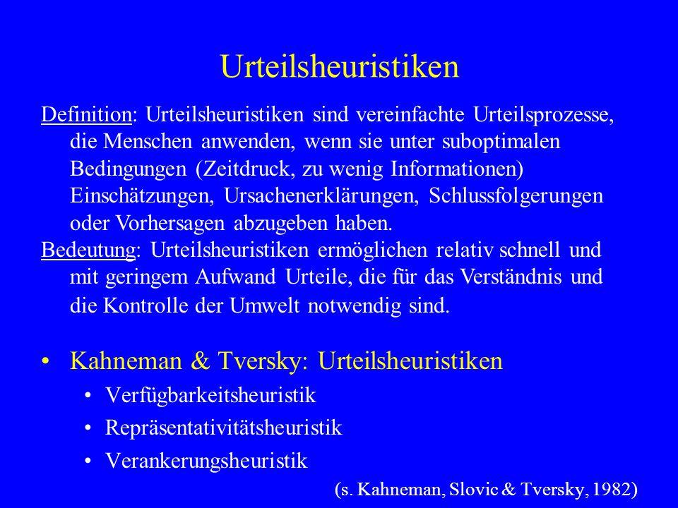 Urteilsheuristiken Kahneman & Tversky: Urteilsheuristiken