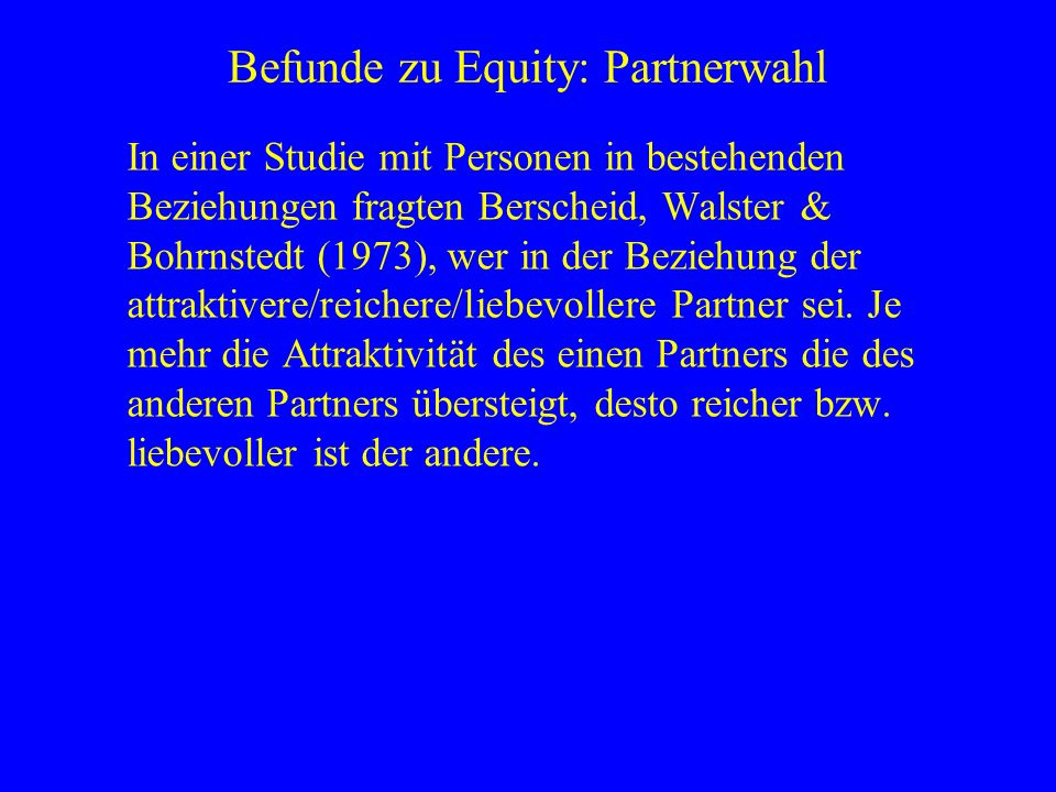 Befunde zu Equity: Partnerwahl