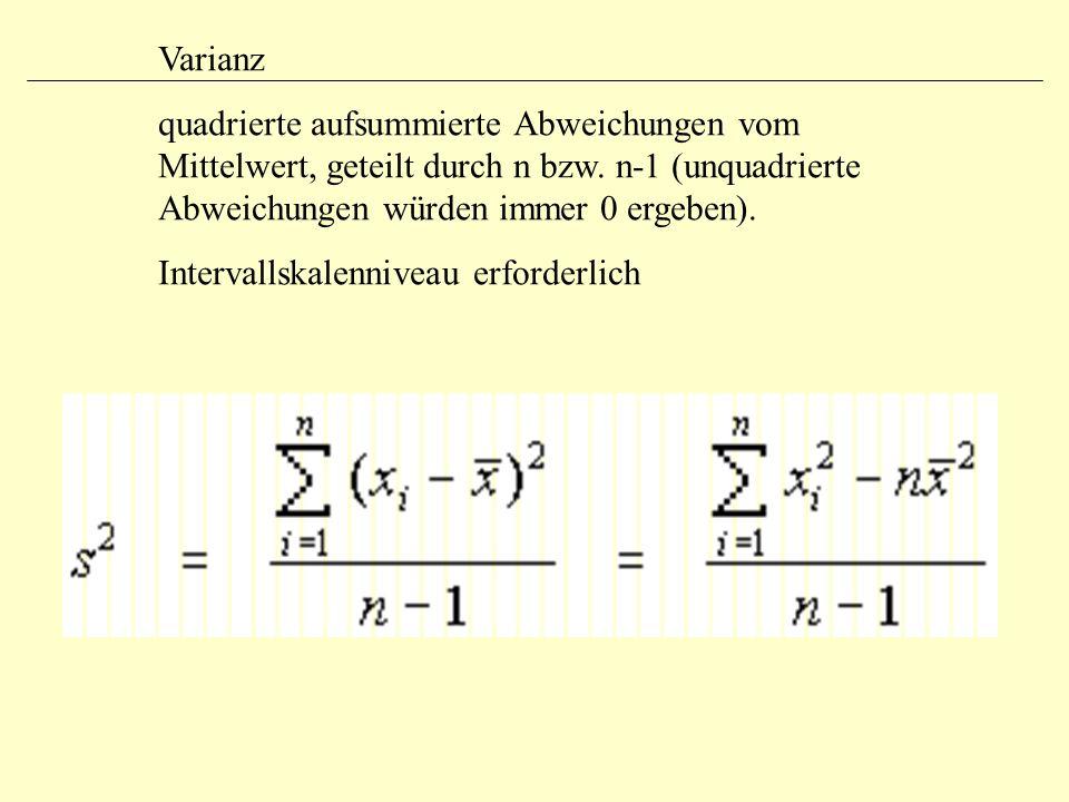 Varianz quadrierte aufsummierte Abweichungen vom Mittelwert, geteilt durch n bzw. n-1 (unquadrierte Abweichungen würden immer 0 ergeben).