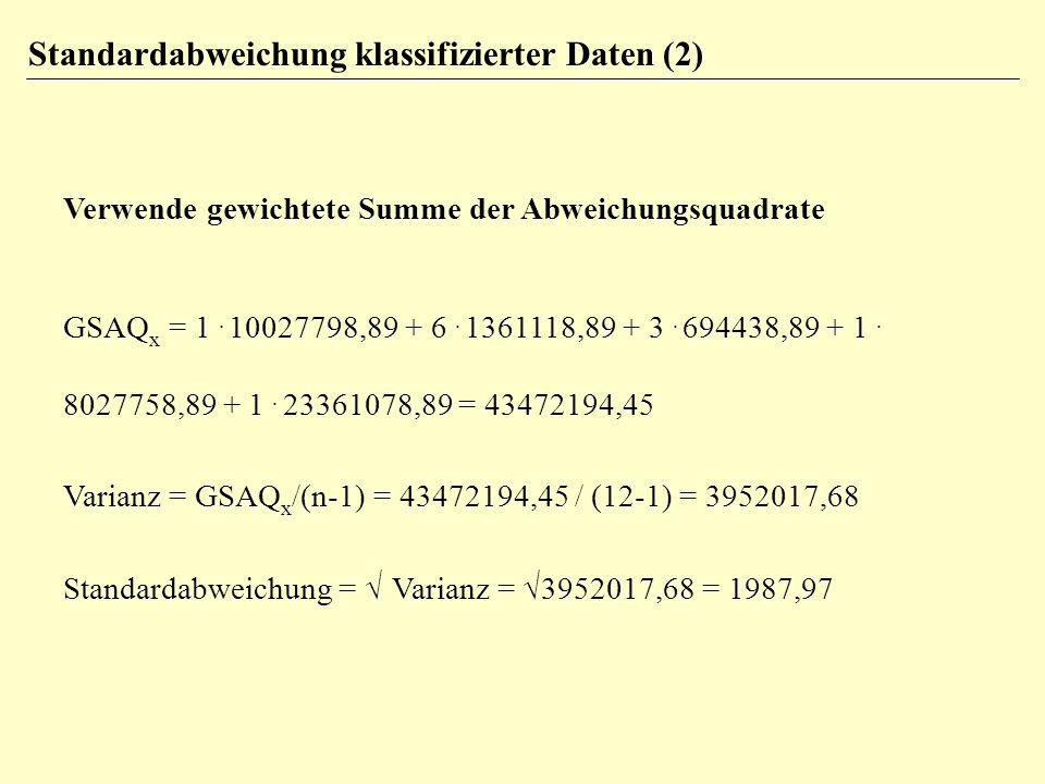 Standardabweichung klassifizierter Daten (2)