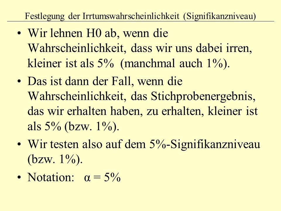 Festlegung der Irrtumswahrscheinlichkeit (Signifikanzniveau)