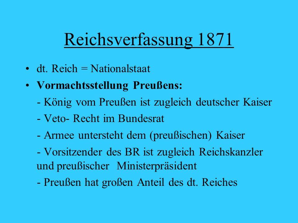 Reichsverfassung 1871 dt. Reich = Nationalstaat